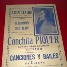 Cine: CARTEL DE CONCHITA PIQUER EN EL GRAN TEATRO -- AÑO 1945 - 100% ORIGINAL Y EN UN MAGNIFICO ESTADO. Lote 232771180