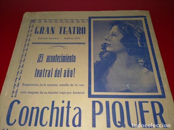 Cine: CARTEL DE CONCHITA PIQUER EN EL GRAN TEATRO -- AÑO 1945 - 100% ORIGINAL Y EN UN MAGNIFICO ESTADO - Foto 2 - 232771180