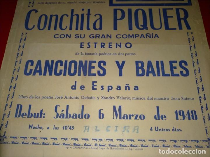 Cine: CARTEL DE CONCHITA PIQUER EN EL GRAN TEATRO -- AÑO 1945 - 100% ORIGINAL Y EN UN MAGNIFICO ESTADO - Foto 3 - 232771180