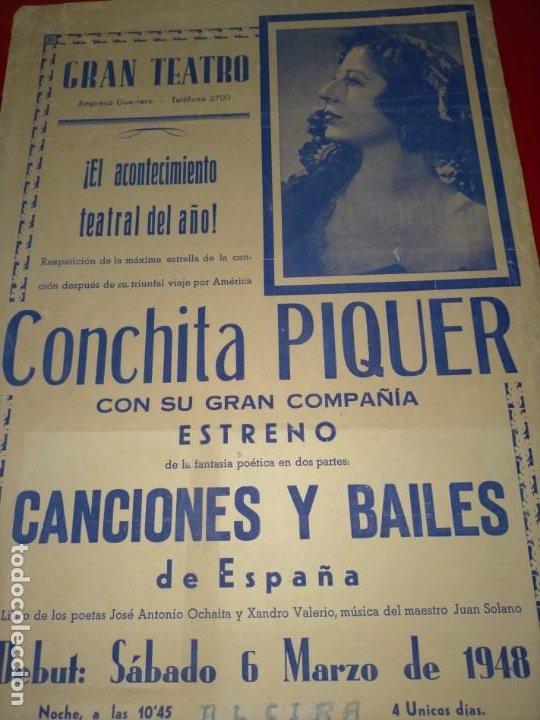 Cine: CARTEL DE CONCHITA PIQUER EN EL GRAN TEATRO -- AÑO 1945 - 100% ORIGINAL Y EN UN MAGNIFICO ESTADO - Foto 4 - 232771180