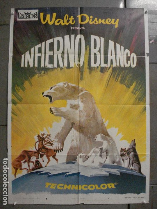 CDO 8205 INFIERNO BLANCO WALT DISNEY DOCUMENTAL ARTICO LEMMINGS POSTER ORIGINAL 70X100 ESTRENO (Cine - Posters y Carteles - Documentales)