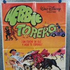 Cine: HERBIE TORERO. WALT DISNEY, AUTOMOVILISMO AÑO 1981. POSTER ORIGINAL. Lote 234725340