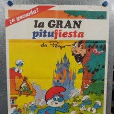 Cine: LA GRAN PITUFIESTA LOS PITUFOS. POSTER ORIGINAL ESTRENO. Lote 234727810