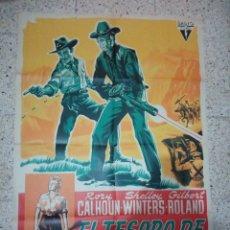 Cine: CARTEL ORIGINAL ESPAÑOL EL TESORO DE PANCHO VILLA, SHELLEY WINTERS, GILBERT ROLAND. Lote 234763010