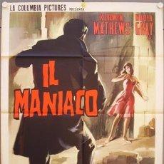 Cine: SL15D MANIAC HAMMER MICHAEL CARRERAS KERWIN MATHEWS POSTER ORIGINAL ITALIANO 100X140. Lote 235001625