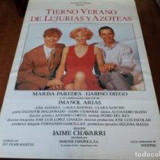 Cine: TIERNO VERANO DE LUJURIAS Y AZOTEAS - MARISA PAREDES, GABINO DIEGO - POSTER ORIGINAL WARNER 1992. Lote 235093670