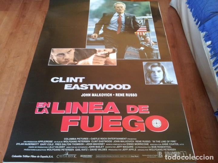 EN LA LÍNEA DE FUEGO - CLINT EASTWOOD, JOHN MALKOVICH, RENÉ RUSSO - POSTER ORIGINAL COLUMBIA 1993 (Cine - Posters y Carteles - Suspense)