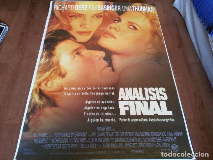 ANÁLISIS FINAL - RICHARD GERE, KIM BASINGER, UMA THURMAN - POSTER ORIGINAL WARNER 1992 (Cine - Posters y Carteles - Suspense)