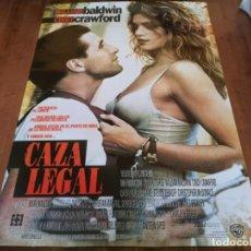 Cine: CAZA LEGAL - WILLIAM BALDWIN, CINDY CRAWFORD, SALMA HAYEK, DAN HEDAYA - POSTER ORIGINAL WARNER 1995. Lote 235151395