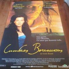 Cine: CUMBRES BORRASCOSAS - JULIETTE BINOCHE, RALPH FIENNES, SOPHIE WARD - POSTER ORIGINAL U.I.P 1992. Lote 235310465