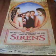 Cine: SIRENAS SIRENS - HUGH GRANT,SAM NEILL,ELLE MACPHERSON,TARA FITZGERALD POSTER ORIGINAL COLUMBIA 1993. Lote 235315315