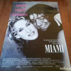 Cine: MIAMI - SARAH JESSICA PARKER, ANTONIO BANDERAS, MIA FARROW - POSTER ORIGINAL BUENAVISTA 1995. Lote 235319945