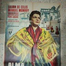 Cine: CARTEL ORIGINAL ESPAÑOL ALMA ARAGONESA, JORGE GRIÑAN, LILIAN DE CELIS, MANUEL MONROY, MAGDA PÉREZ,. Lote 235364815