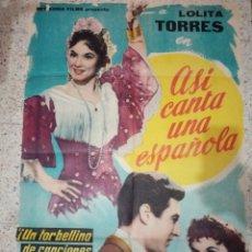 Cine: CARTEL CINE ORIGINAL ESPAÑOL ASÍ CANTA UNA ESPAÑOLA, LOLITA TORRES, LEO FLEIDER. Lote 235368495