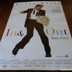 Cine: IN & OUT DENTRO O FUERA - KEVIN KLINE, MATT DILLON, JOAN CUSACK - POSTER ORIGINAL AURUM 1997. Lote 235552375