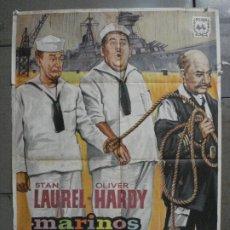 Cine: CDO 8443 MARINOS A LA FUERZA STAN LAUREL OLIVER HARDY HAL ROACH POSTER ORIGINAL 70X100 ESPAÑOL R-65. Lote 235799955