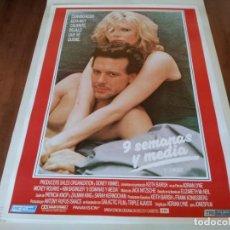 Cine: 9 SEMANAS Y MEDIA - KIM BASINGER, MICKEY ROURKE, ADRIAN LYNE - POSTER ORIGINAL TRIFILMS 1986. Lote 235996825