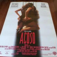 Cine: ACOSO - DEMI MOORE, MICHAEL DOUGLAS, DONALD SUTHERLAND - POSTER ORIGINAL WARNER 1994. Lote 253553480