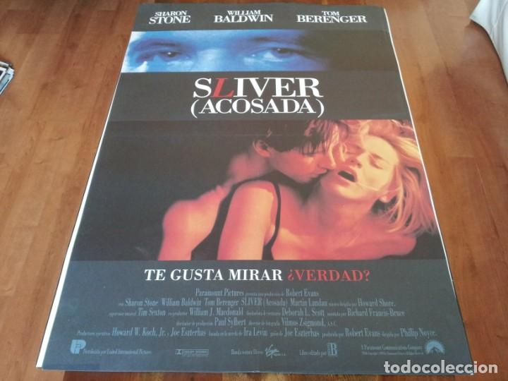 SLIVER ACOSADA - SHARON STONE, WILLIAM BALDWIN, TOM BERENGER - POSTER ORIGINAL U.I.P 1993 (Cine - Posters y Carteles - Suspense)