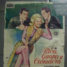 Cine: CDO 8511 RICA GUAPA Y CASADERA SANDRA DEE JANO POSTER ORIGINAL 70X100 ESTRENO. Lote 236104860