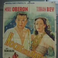 Cine: AAS61 NOCHE EN EL PARAISO MERLE OBERON TURHAN BEY POSTER ORIGINAL ESTRENO 70X100 LITOGRAFIA. Lote 236127530
