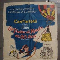 Cine: AAS62 LA VUELTA AL MUNDO EN 80 DIAS CANTINFLAS JULIO VERNE POSTER ORIGINAL 70X100 ESTRENO. Lote 236129810