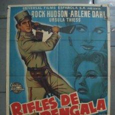 Cine: AAS67 RIFLES DE BENGALA ROCK HUDSON ARLENE DAHL MCP POSTER ORIGINAL 70X100 ESTRENO LITOGRAFIA. Lote 236137100