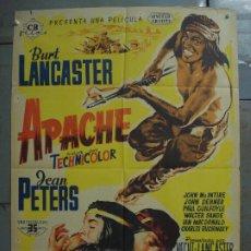 Cine: AAS70 APACHE BURT LANCASTER JEAN PETERS POSTER ORIGINAL ESTRENO 70X100 LITOGRAFIA. Lote 236141420