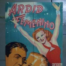 Cine: AAS85 ARDID FEMENINO GINGER ROGERS JAMES STEWART POSTER ORIGINAL ESTRENO 70X100 LITOGRAFIA. Lote 236154825