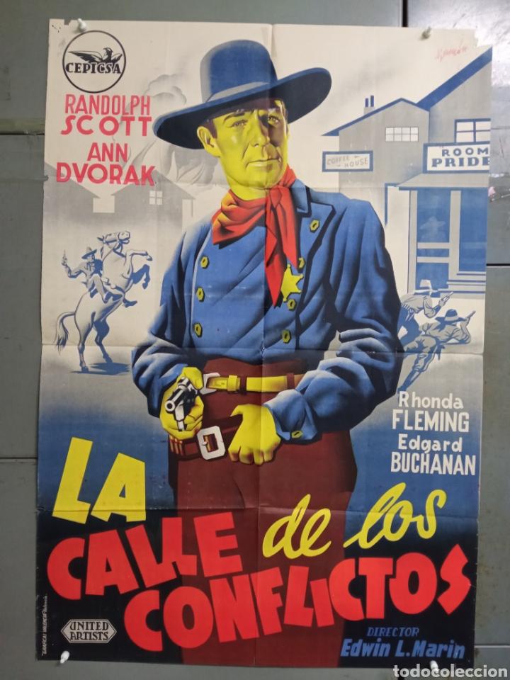 AAS86 LA CALLE DE LOS CONFLICTOS RANDOLPH SCOTT RAMON POSTER ORIGINAL ESTRENO 70X100 LITOGRAFIA (Cine - Posters y Carteles - Westerns)