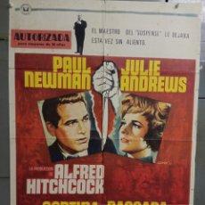 Cine: AAS91 CORTINA RASGADA ALFRED HITCHCOCK PAUL NEWMAN POSTER ORIGINAL ESTRENO 70X100. Lote 236158990