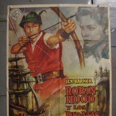 Cine: CDO 8516 ROBIN HOOD Y LOS PIRATAS LEX BARKER POSTER ORIGINAL 70X100 ESTRENO. Lote 236170250