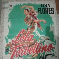 Cine: CARTEL ORIGINAL ESPAÑOL LOLA TORBELLINO, JANO, LOLA FLORES, RENE CARDONA,. Lote 236247835
