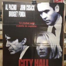 Cine: CITY HALL - AL PACINO - JOHN CUSACK - BRIDGET FONDA - CARTEL DE CINE ORIGINAL 70X100. Lote 236272970