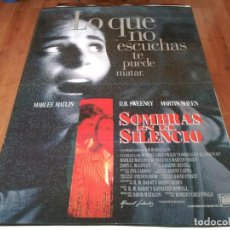 Cine: SOMBRAS EN EL SILENCIO - MARLEE MATLIN, D.B. SWEENEY, MARTIN SHEEN - POSTER ORIGINAL FOX 1993. Lote 236588635