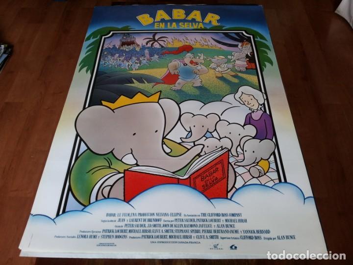 BABAR EN LA SELVA - ANIMACIÓN - DIR. ALAN BUNCE - POSTER ORIGINAL LAUREN 1989 (Cine - Posters y Carteles - Infantil)