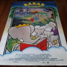 Cine: BABAR EN LA SELVA - ANIMACIÓN - DIR. ALAN BUNCE - POSTER ORIGINAL LAUREN 1989. Lote 236592875