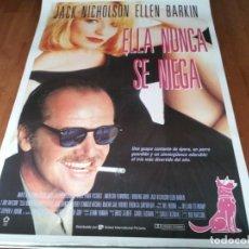 Cine: ELLA NUNCA SE NIEGA - JACK NICHOLSON, ELLEN BARKIN, HARRY DEAN STANTON - POSTER ORIGINAL U.I.P 1992. Lote 236780775