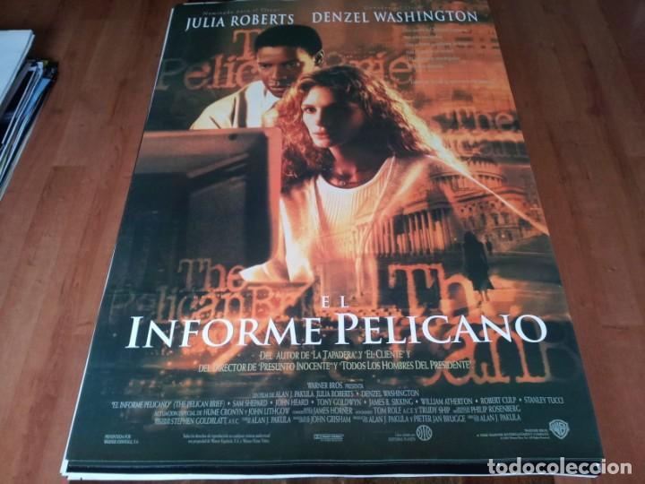 EL INFORME PELÍCANO - JULIA ROBERTS, DENZEL WASHINGTON, SAM SHEPARD - POSTER ORIGINAL WARNER 1993 (Cine - Posters y Carteles - Suspense)