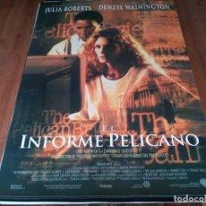 Cine: EL INFORME PELÍCANO - JULIA ROBERTS, DENZEL WASHINGTON, SAM SHEPARD - POSTER ORIGINAL WARNER 1993. Lote 236801820