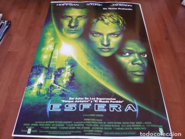 ESFERA - DUSTIN HOFFMAN, SHARON STONE, SAMUEL L. JACKSON, PETER COYOTE - POSTER ORIGINAL WARNER 1998 (Cine - Posters y Carteles - Ciencia Ficción)