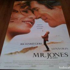 Cine: MR. JONES - RICHARD GERE, LENA OLIN, ANNE BANCROFT, MIKE FIGGIS - POSTER ORIGINAL COLUMBIA 1993. Lote 236955785