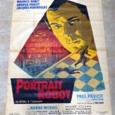 Cine: PORTRAIT ROBOT (EL ESTRANGULADOR) - MAURICE RONET, CARTEL LITOGRAFIA FRANCES - 160X120 CM., AÑO 1962. Lote 237138110