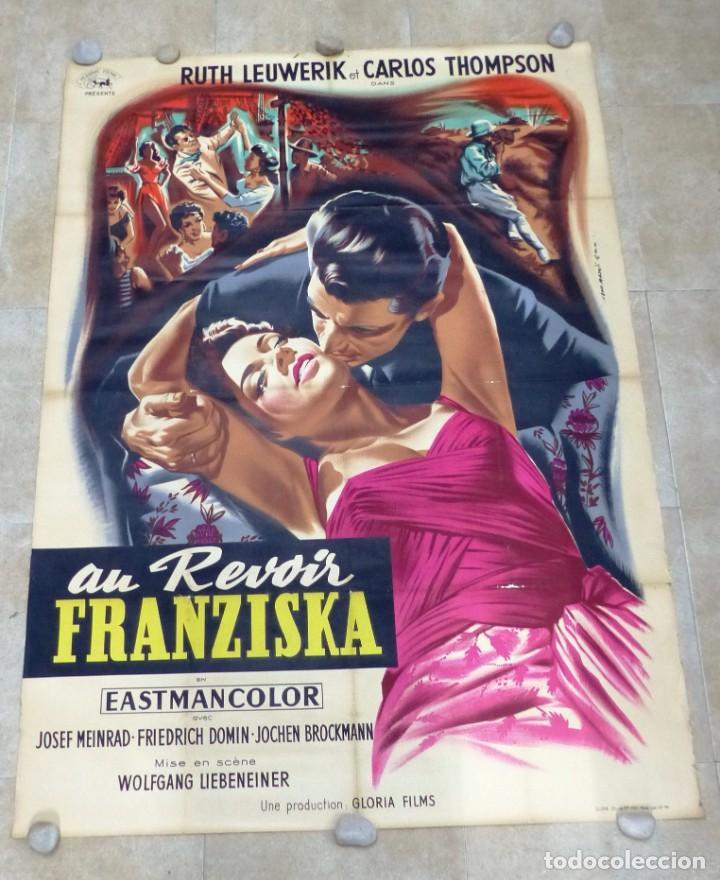 AU REVOIR FRANZISKA - RUTH LEUWERIK, CARTEL LITOGRAFIA FRANCES GRANDE 160X120 CM. - AÑOS 1950 (Cine- Posters y Carteles - Drama)