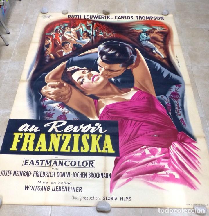 Cine: AU REVOIR FRANZISKA - RUTH LEUWERIK, CARTEL LITOGRAFIA FRANCES GRANDE 160X120 CM. - AÑOS 1950 - Foto 2 - 237143295
