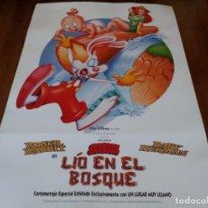 Cine: ROGER RABBIT EN LÍO EN EL BOSQUE - ANIMACION - POSTER ORIGINAL DISNEY 1993. Lote 237165115