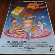 Cine: LOS 4 MÚSICOS DE BREMEN - ANIMACION - DIR. CRUZ DELGADO - POSTER ORIGINAL FILMAYER 1988. Lote 237166890