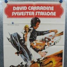 Cinema: LA CARRERA DE LA MUERTE DEL AÑO 2000. DAVID CARRADINE, SYLVESTER STALLONE AÑO 1977. POSTER ORIGINAL. Lote 237174840