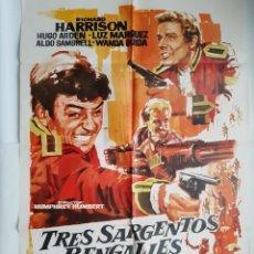 Cine: ANTIGUO CARTEL CINE TRES SARGENTOS BENGALIES + 9 FOTOCROMOS 1973 CC298 RV. Lote 237195355