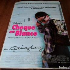 Cine: CHEQUE EN BLANCO - BRIAN BONSALL, MIGUEL FERRER, KAREN DUFFY - POSTER ORIGINAL DISNEY 1994. Lote 237369870